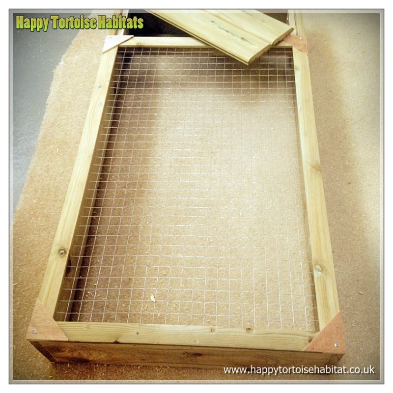 wooden tortoise run with mesh lid for sale in UK